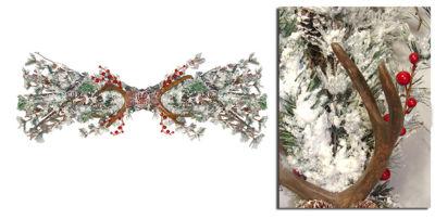 "32"" Flocked Rustic Antlers with Pine & Berries Artificial Christmas Swag - Unlit"""