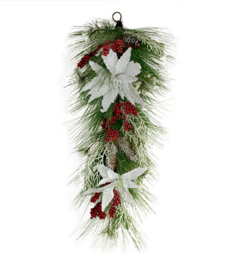 "32"" Mixed Long Needle Pine with Berries and Poinsettia's Artificial Christmas Teardrop Swag - Unlit"""