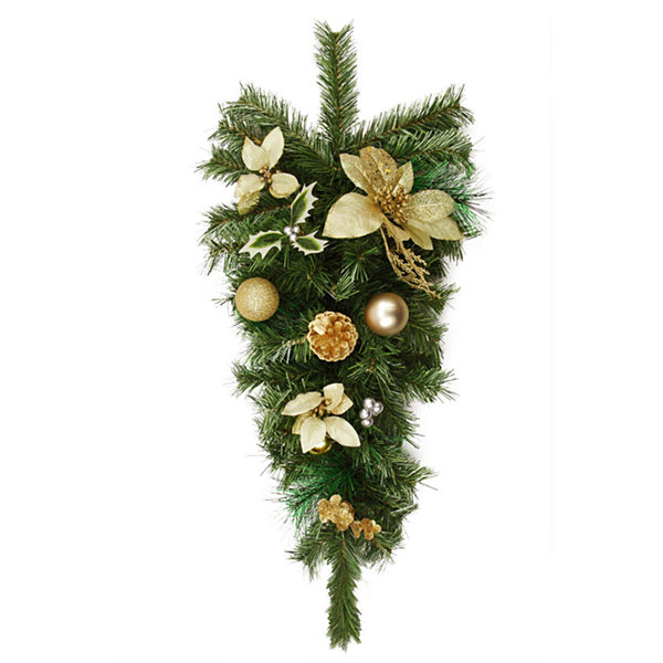 "32"" Pre-Decorated Gold Poinsettia  Pine Cone and Ball Artificial Christmas Teardrop Swag - Unlit"""