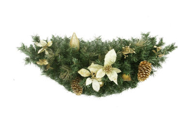 """35"""" Pre-Decorated Gold Poinsettia  Pine Cone and Pear Artificial Christmas Swag - Unlit"""""""