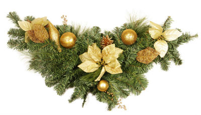 "36"" Pre-Decorated Pine  Gold Poinsettia and Ornament Adorned Artificial Christmas Swag - Unlit"""