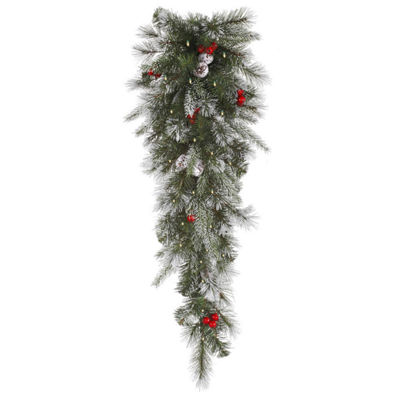 "36"" Pre-Lit Frosted Pine Berry Artificial Christmas Teardrop Swag - Clear Lights"""
