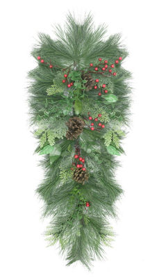"""38"""" Decorated Long Needle Pine  Pine Cone and Berry Artificial Christmas Teardrop Swag - Unlit"""""""