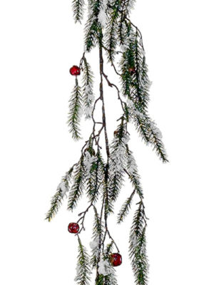 """5' x 15"""" Snowy Pine with Red Jingle Bells Artificial Christmas Garland - Unlit"""""""