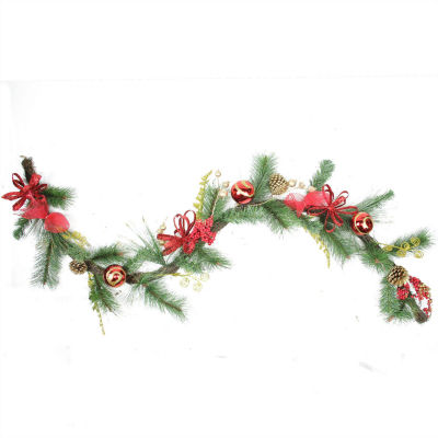 6' Grapevine and Pine with Red Ball Ornaments Artificial Christmas Garland - Unlit