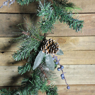 6' Mixed Pine  Blueberries and Snowy Pine Cones Artificial Christmas Garland - Unlit