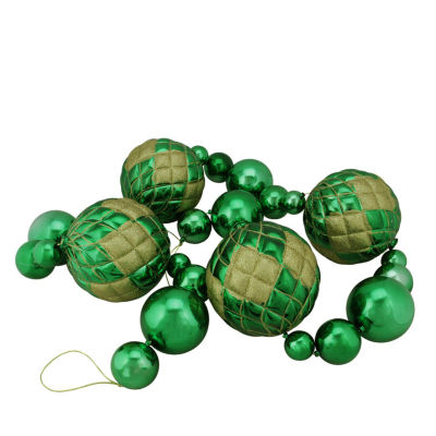 6' Oversized Shatterproof  Shiny Christmas Ball Garland with Glitter Accents