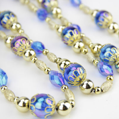 8' Luxurious Esquire Gold and Blue Iridescent Beaded Christmas Garland