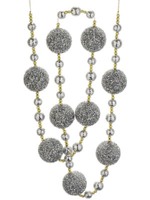 Christmas Brites Silver Splendor and Gold Glittered Holiday Ball Garland 6'
