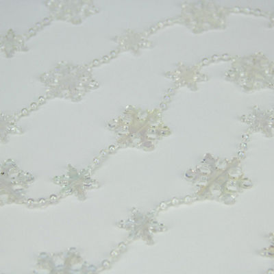 Clear Iridescent Snowflake Beaded Christmas Garland 8' x 1.25""