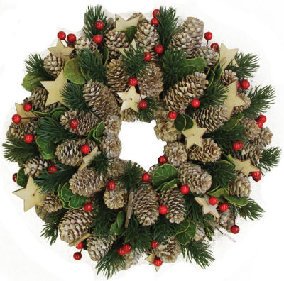 """10"""" Decorative Pine Cone with Berries and Stars Christmas Wreath - Unlit"""""""