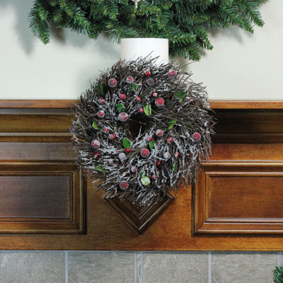 "10.25"" Frosted Brown Twig Artificial Christmas Wreath with Leaves and Berries - Unlit"""