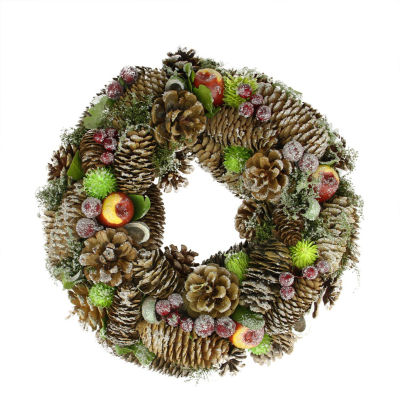 """12.5"""" Natural Pine Cone and Fruit Glitter Artificial Christmas Wreath - Unlit"""""""