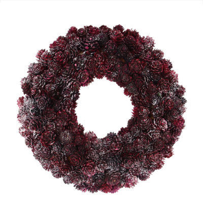 "12.5"" Wine Burgundy Glitter Pine Cone Artificial Christmas Wreath - Unlit"""