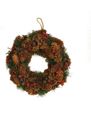"""13"""" Decorative Berries  Twigs  Nuts  and Pine Cones Christmas Wreath - Unlit"""""""