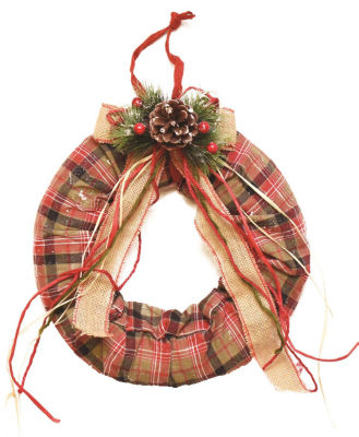 "13"" Decorative Green  Red and White Plaid Christmas Wreath with Burlap Bow and Pine Accents - Unlit"""