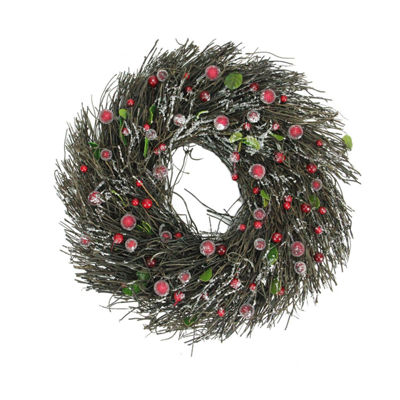 "13"" Frosted Brown Twig Artificial Christmas Wreathwith Leaves and Berries - Unlit"""