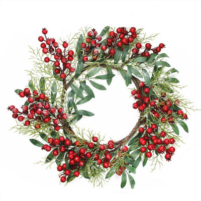 """18"""" Frosted Artificial Green Leaves and Red Berries Decorative Christmas Wreath - Unlit"""""""