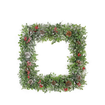 """18"""" Square Boxwood and Berries Pine Cone Artificial Christmas Wreath - Unlit"""""""