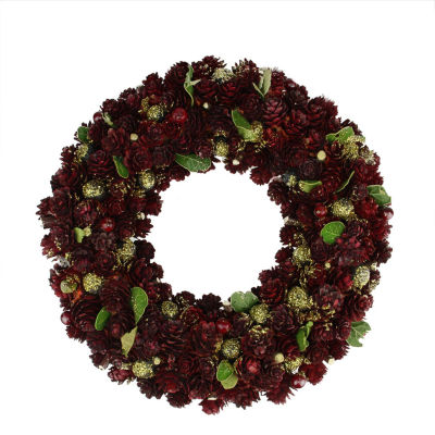 """18"""" Wine Burgundy and Gold Glitter Pine Cone Artificial Christmas Wreath - Unlit"""""""