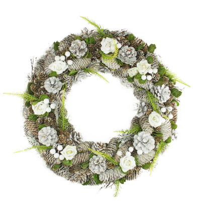"19"" White Frosted Pine Cone  Roses and Twigs Artificial Christmas Wreath - Unlit"""