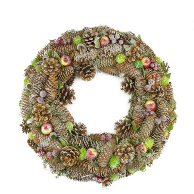 """19.5"""" Natural Pine Cone and Fruit Glitter Artificial Christmas Wreath - Unlit"""""""