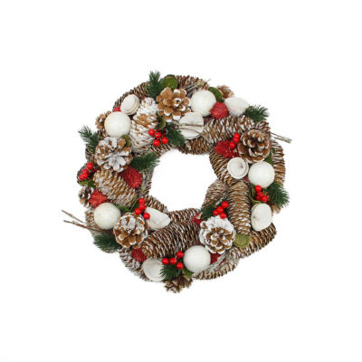 """20"""" Frosted Pine Cone  Twigs and Berries Artificial Christmas Wreath - Unlit"""""""