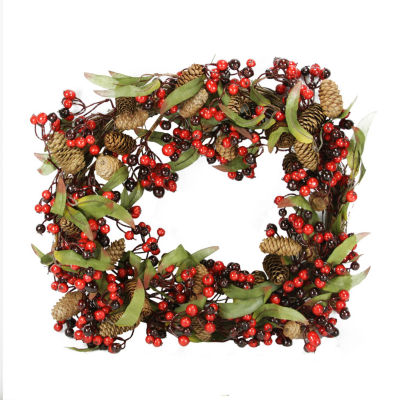 """20"""" Red and Black Berry and Pine Cone Artificial Christmas Wreath - Unlit"""""""