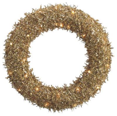 "22"" Pre-Lit Sparkling Gold Glittered Sequin Christmas Iced Wreath #XAI620-GO"""