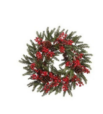 """22"""" Red Berry and Pine Cone Artificial Christmas Wreath - Unlit"""""""