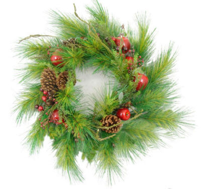 "24"" Apple  Berry & Pine Cone Artificial ChristmasWreath"""