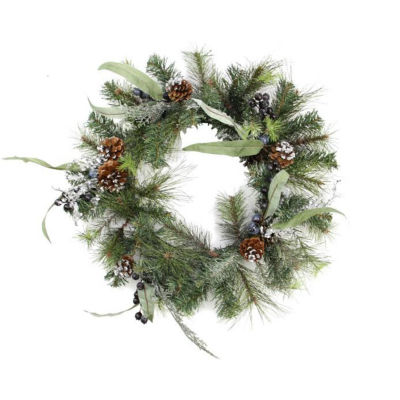 """24"""" Artificial Mixed Pine with Blueberries  Pine Cones and Ice Twigs Christmas Wreath - Unlit"""""""