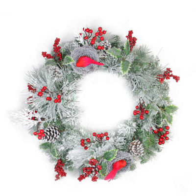 "24"" Berries and Red Cardinals in Nests Flocked Artificial Christmas Wreath - Unlit"""