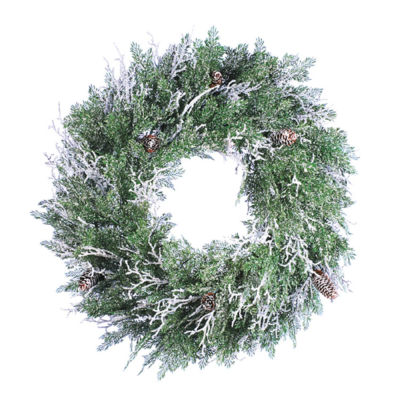 """24"""" Frosted Cedar Artificial Christmas Twig WreathWith Pine Cones"""""""