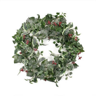 "24"" Frosted Holly Berry and Ivy Artificial Christmas Wreath - Unlit"""