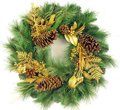 """24"""" Gold Glittered Mixed Pine Artificial Christmas Wreath"""