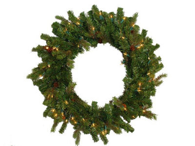 "24"" Hunter Fir Pre-Lit Artificial Christmas Wreath- Clear Lights"""