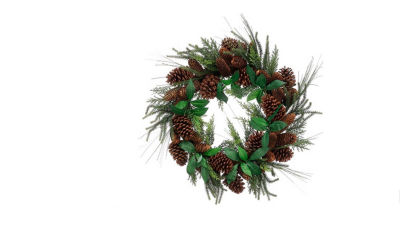 "24"" Mixed Pine Artificial Christmas Wreath with Pine Cones - Unlit"""