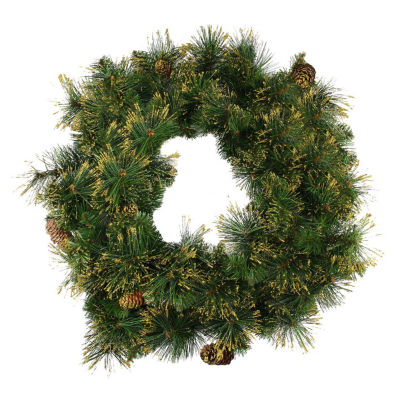 """24"""" Mixed Pine Glittered Pine Cone Artificial Christmas Wreath - Unlit"""""""