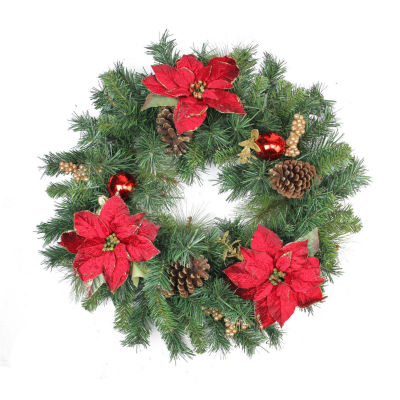 "24"" Pine Poinsettia Berry and Pine Cone ArtificialChristmas Wreath - Unlit"""