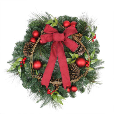 "24"" Pine with Red Ball Ornaments and Pine Cones Artificial Christmas Wreath - Unlit"""