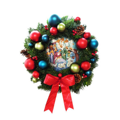 """24"""" Pre-Decorated B/O LED Lighted Christmas Wreathwith Nativity Center - Clear"""""""