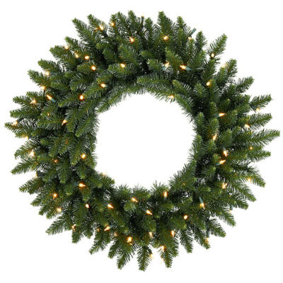 "24"" Pre-Lit Eastern Pine Artificial Christmas Wreath - Clear Lights"""