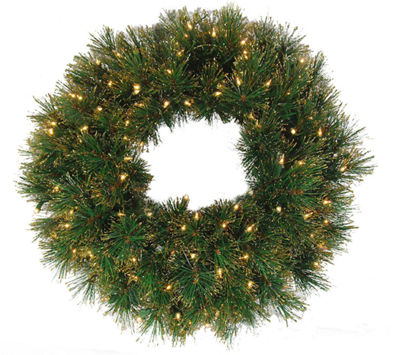 "24"" Pre-Lit Tattinger Long Needle Pine ArtificialChristmas Wreath - Clear"""