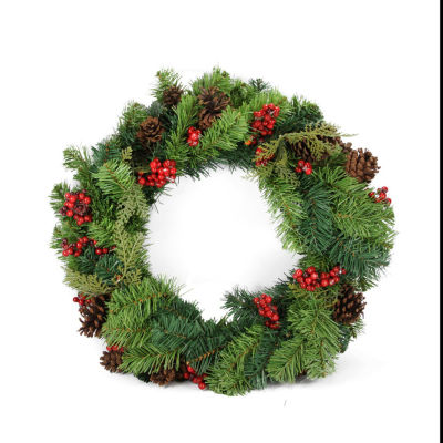 "24"" Red Berry and Pine Cone Artificial Christmas Wreath - Unlit"""
