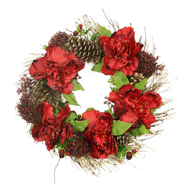 "24"" Red Peony and Sedum Floral Artificial Christmas Wreath with Pine Cones - Unlit"""