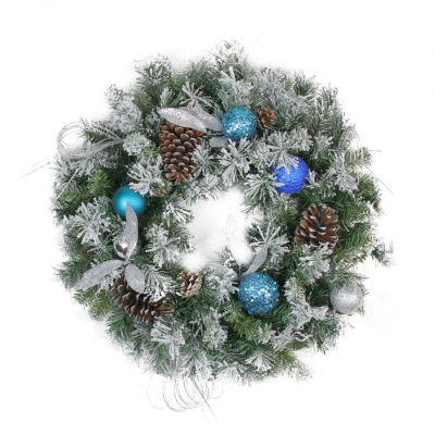 """24"""" Teal and Silver Ball Flocked with Pine Cones Artificial Christmas Wreath - Unlit"""""""