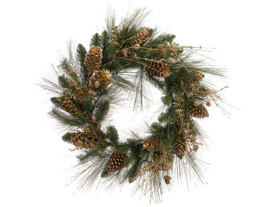 "26"" Artificial Gold Glitter Pine Cone and Berry Christmas Wreath"""