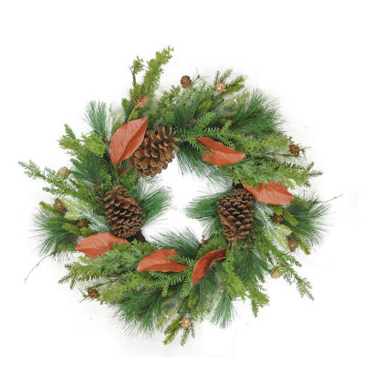 "26"" Decorative Mixed Pine with Red Leaves and PineCones Artificial Christmas Wreath - Unlit"""