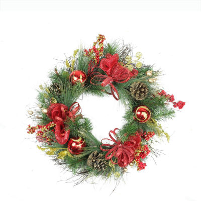 """26"""" Red Ornament and Berry Gold Glittered Artificial Christmas Wreath - Unlit"""""""